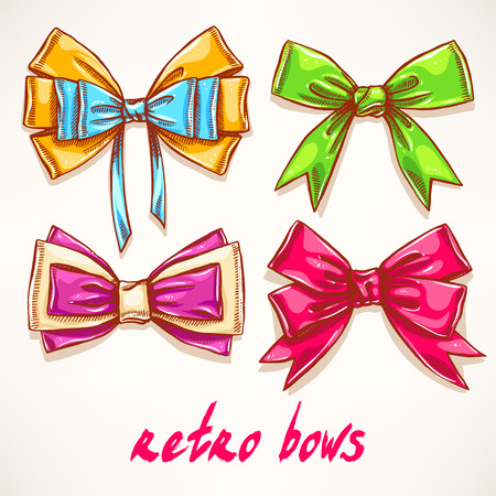 hands tied: Set of four different beautiful colorful bows. hand-drawn illustration