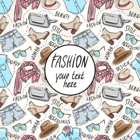 background with womens clothing and accessories and place for text. hand-drawn illustration Vector