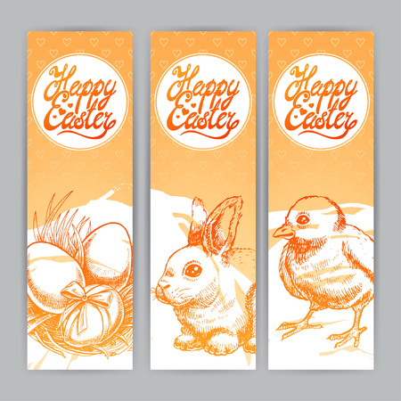 Three lovely orange banners for Easter. Hand-drawn illustration Vector
