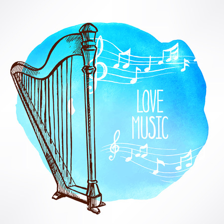 love of music. Beautiful watercolor background with hand-drawn harp