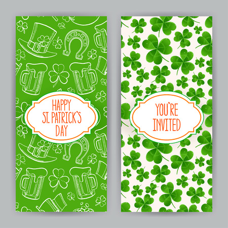 two cute greeting cards for St. Patrick`s Day Vector