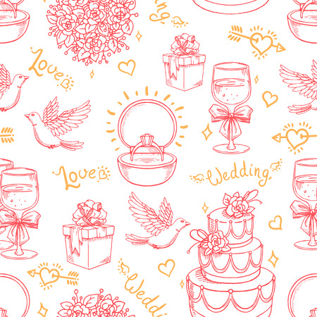 Beautiful seamless pink background for a wedding with doves, ring and bridal bouquet Vector