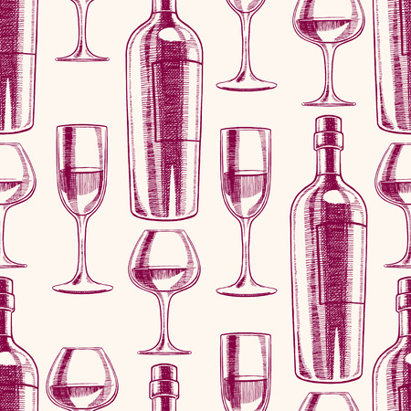 drink bottle: seamless purple background with bottles and glasses of wine. hand-drawn illustration