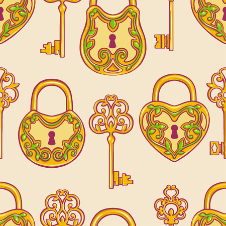 Seamless background with retro gold keys and locks with a floral pattern Vector