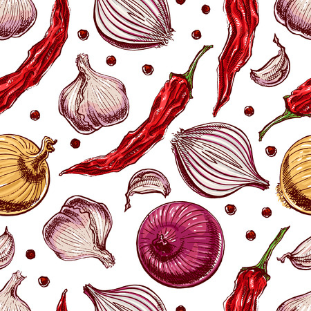 Seamless background with vegetables and spices. hand-drawn illustration