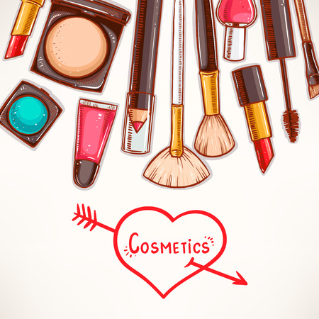 background with decorative cosmetics. hand-drawn illustration Vector