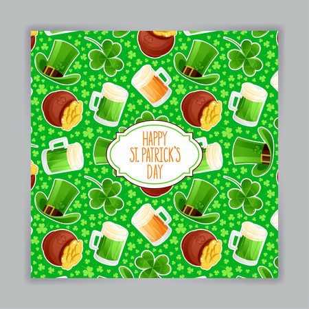 cute green greeting card for St. Patrick`s Day. Hand-drawn illustration. Vector