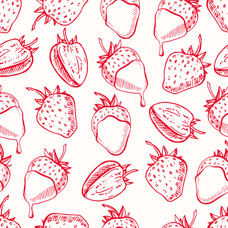 fondue: cute seamless background with strawberries and chocolate. hand-drawn illustration