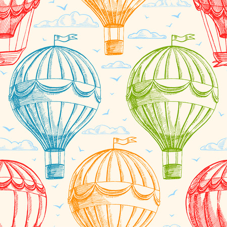 air baloon: Vintage seamless background with balloons flying in the sky, clouds and birds