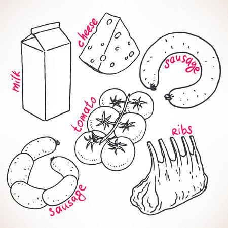 Collection of sketch products. hand-drawn illustration. food icons Illustration