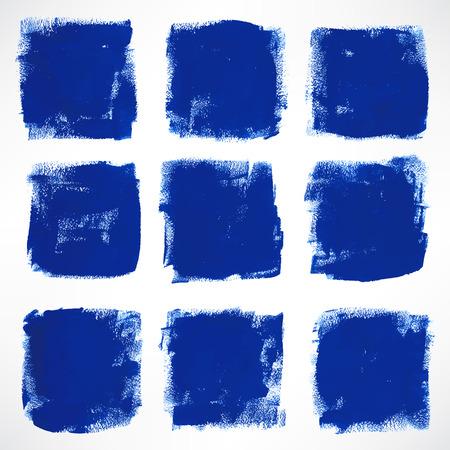 set with nine grunge ink hand-drawn blue squares