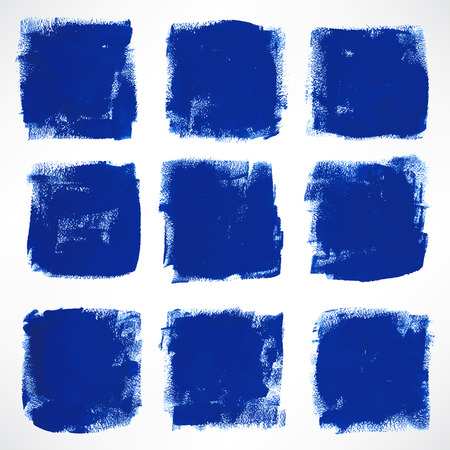 set with nine grunge ink hand-drawn blue squares