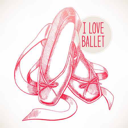 beautiful hand-drawn pink pointe shoes with long ribbons Illustration