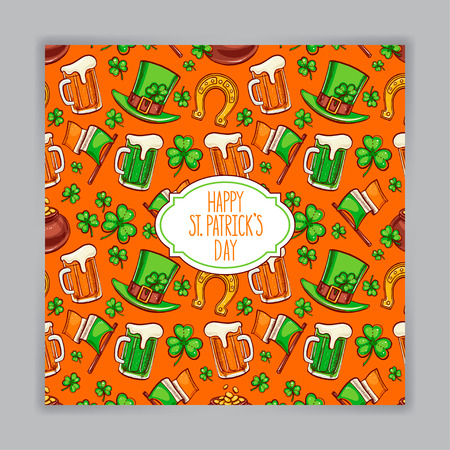 cute orange greeting card for St. Patrick`s Day. Hand-drawn illustration. Vector