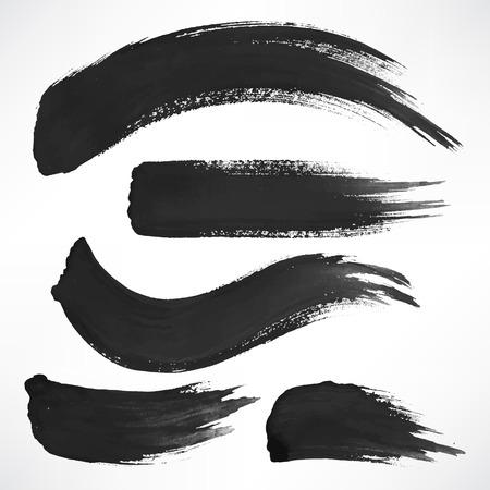 Set met een paar zwarte aquarel penseelstreken Stockfoto - 36401391