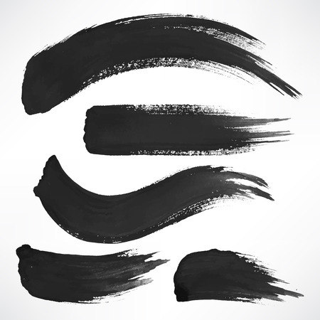 paint strokes: Set with a few black watercolor brush strokes Illustration