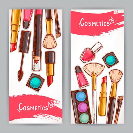 deux belles cartes avec cosmétiques décoratifs. illustration dessinée à la main Vecteurs