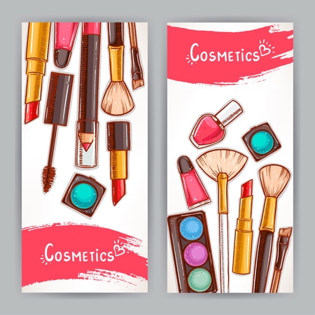 cosmetics products: two beautiful cards with decorative cosmetics. hand-drawn illustration Illustration