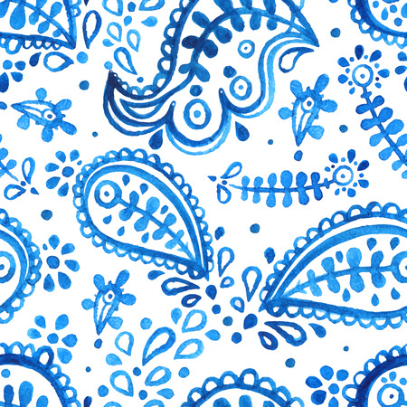 beautiful seamless watercolor white and blue floral background. paisley pattern. hand-drawn illustration