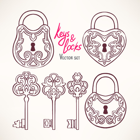 lock symbol: Set with three beautiful retro keys and locks with a floral pattern Illustration