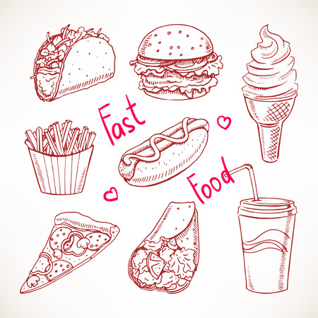 hamburger and fries: Set with various fast food. hot dog, hamburger, pizza slice. hand-drawn illustration Illustration