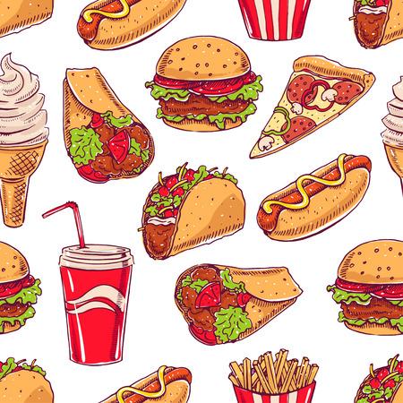 pizza: de fondo sin fisuras con varios comida r�pida. perro caliente, hamburguesa, rebanada de pizza. ilustraci�n de mano