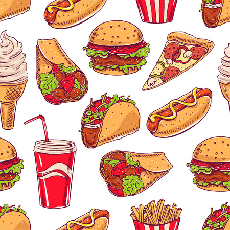seamless background with various fast food. hot dog, hamburger, pizza slice. hand-drawn illustration Illustration