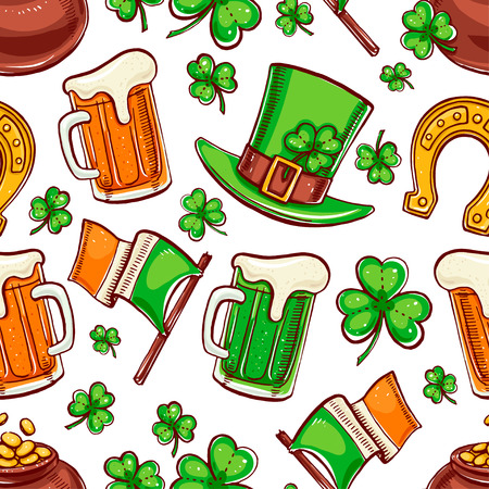 cute seamless background for St. Patrick`s Day. Hand-drawn illustration. Vector
