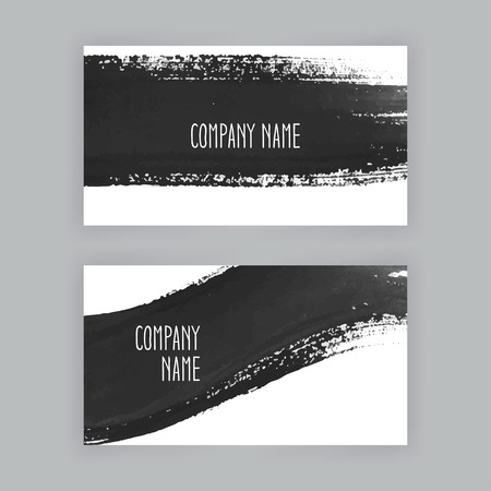 brush strokes: two business cards template with hand painted brush strokes