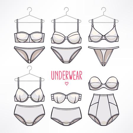 panties: conjunto con los diferentes estilos de la ropa interior. bragas y sujetadores.