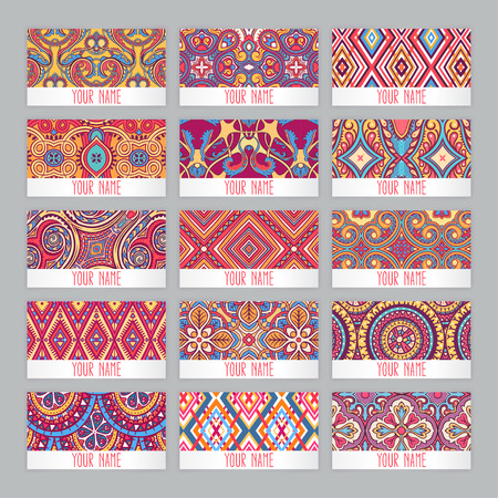 fifteen: a set of fifteen business cards with vintage floral patterns Illustration