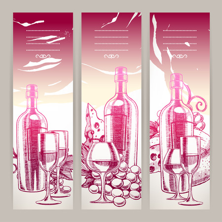 three beautiful background with a bottle of wine, wineglasses, grapes and cheese. hand-drawn illustration Vector