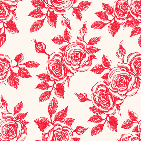 red rose: Beautiful seamless vintage beige background with red roses
