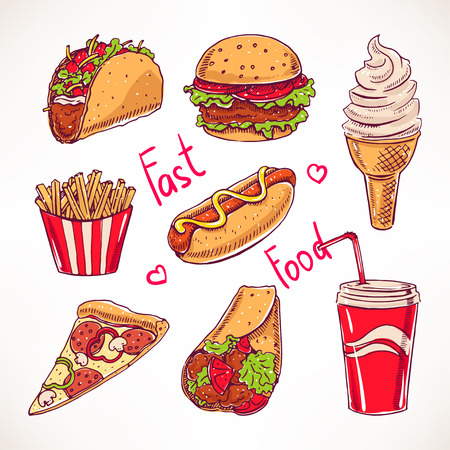 burger and fries: Set with various fast food. hot dog, hamburger, pizza slice. hand-drawn illustration Illustration