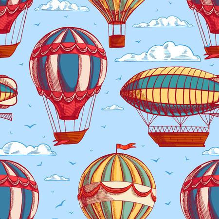 airship: beautiful retro colorful seamless background with balloons and airships flying to cloudy sky Illustration