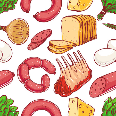 cheese bread: Seamless background with different food. meat, cheese, bread Illustration