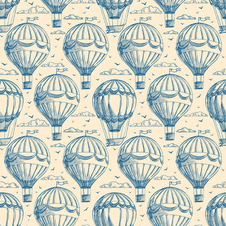 beautiful retro seamless background with balloons flying to cloudy sky