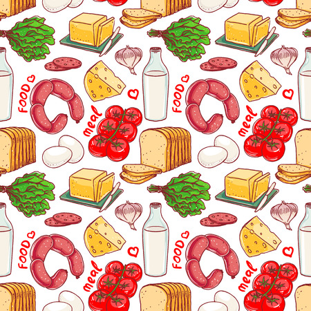 garlic bread: Seamless red and white background with different food