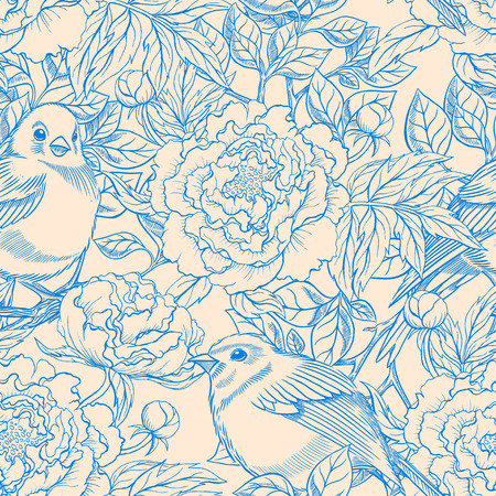 seamless pattern floral: beautiful blue and beige retro seamless pattern with birds and blooming peonies