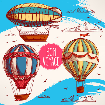 air baloon: set with vintage colorful balloons flying in the sky, clouds and birds
