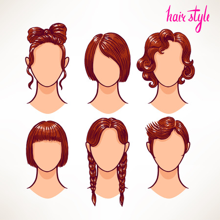 long straight hair: set with different hairstyles. brunette. hand-drawn illustration