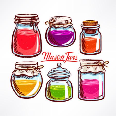 mason: hand-drawn mason jars with colorful contents Illustration
