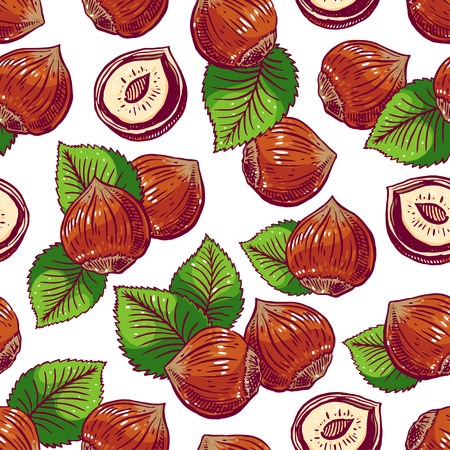 nutty: seamless background with hazelnuts and leaves. hand-drawn illustration