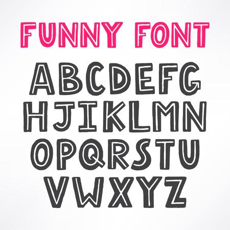 upper case: cute funny font. hand-drawn font. upper case