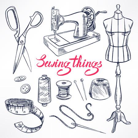 Stellen Sie mit Skizze Tailoring Ausrüstung. Schaufensterpuppe, Nähen, Nähmaschine. Hand gezeichnete Illustration Vektorgrafik