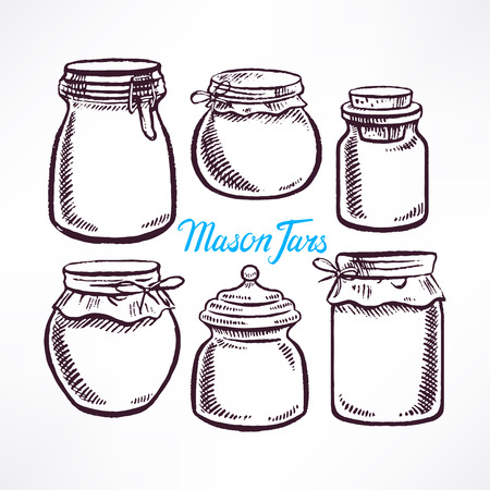 sketch different shape mason jars. hand-drawn illustration Illustration