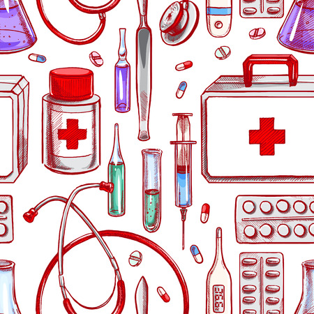 medical supplies: seamless background with medical supplies. hand-drawn illustration