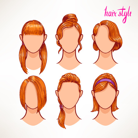 long straight hair: set with different hairstyles. Redhead. hand-drawn illustration