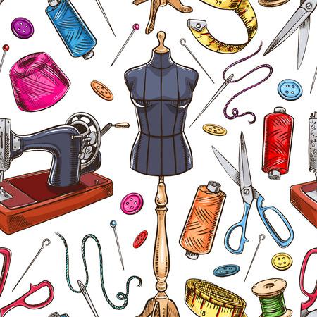 nahtloser Hintergrund mit Skizze Tailoring Ausrüstung. Schaufensterpuppe, Nähen, Nähmaschine. Hand gezeichnete Illustration