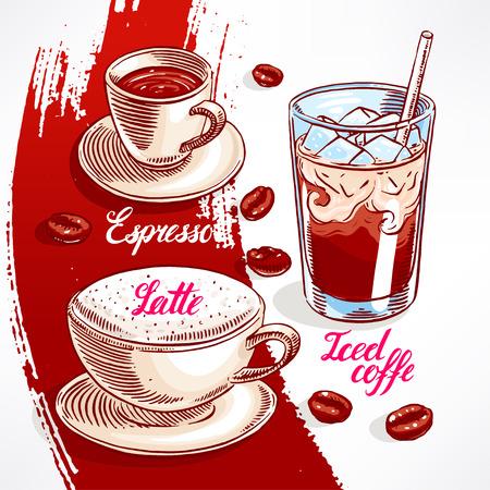 Conjunto con diferentes tipos de café. ilustración de mano - 2 Foto de archivo - 37727287